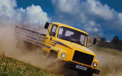 cabin, russia, yellow, gas 3307, truck