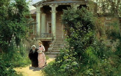 artist, vasily polenov, picture, grandma's garden, 1878, a work of art