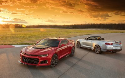 2017, coupe, chevrolet camaro, chevrolet, zl1, convertible, red