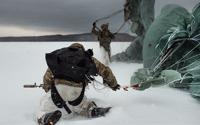 winter, military, special forces, parachute, soldier, soldiers, russia