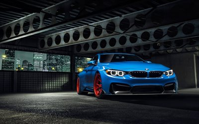 tuning, BMW M4, F82, supercars, parking, blue M4, german cars, BMW