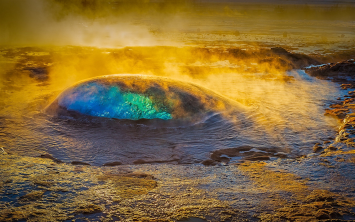 geyser, natural phenomena, steam, blue water, warm spring, Iceland