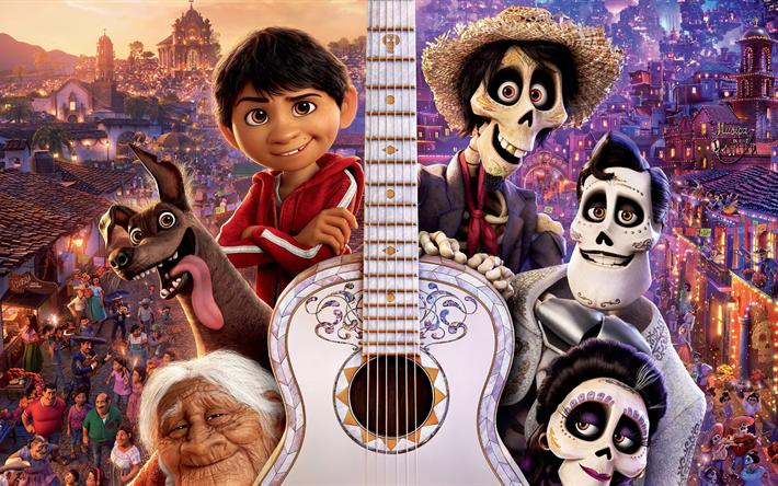 Coco, 4k, 3d-animation, 2017 movie, Miguel, Abuelita, Dante, Hector, Pixar