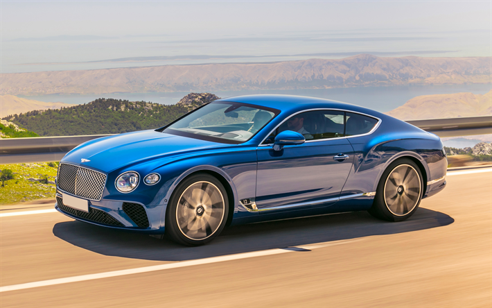 4k, Bentley Continental GT, 2018 carros, supercarros, azul Continental GT, Bentley