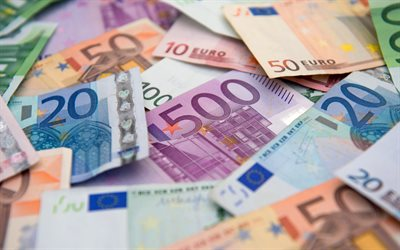 euro, mountain of money, european currency, euro area, finance concepts, banknotes, currency, EUR
