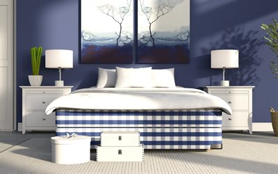 stylish bedroom, blue colors, bedroom design, modern interior design, blue bed