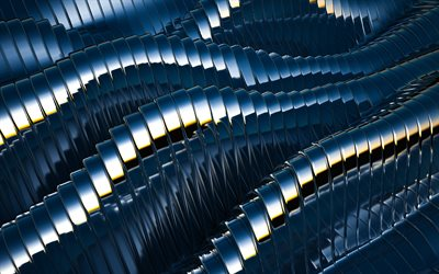 4k, 3D metal waves, 3D textures, geometric patterns, wavy backgrounds, 3D waves, blue 3D background, background with waves, waves texture