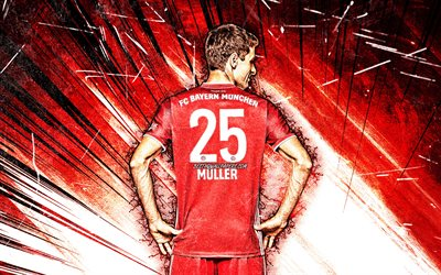 4k, Thomas Muller, back view, grunge art, Bayern Munich FC, footballeurs allemands, Bundesliga, rouge, football, Allemagne, Thomas Muller Bayern Munich, Thomas Muller 4K
