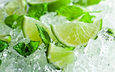 lime with mint, lime on ice, green lemon, lime, freshness concepts