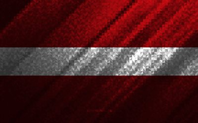 Flag of Latvia, multicolored abstraction, Latvia mosaic flag, Europe, Latvia, mosaic art, Latvia flag
