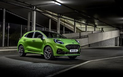 Ford Puma ST, 2021, 4k, front view, exterior, new green Puma, tuning Puma, american cars, Ford