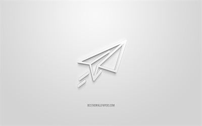 Takeoff 3d icon, white background, 3d symbols, Paper plane, creative 3d art, 3d icons, Paper plane sign, Business 3d icons