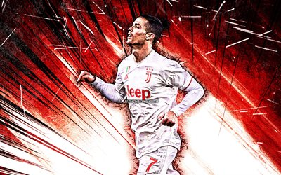 4k, Cristiano Ronaldo, red abstract rays, Juventus FC, CR7, portuguese footballers, Italy, Bianconeri, red uniform, soccer, grunge art, football stars, Serie A, CR7 Juve