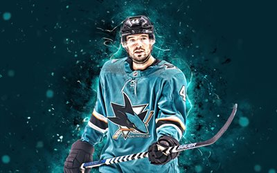 Marc Edouard Vlasic, 4k, San Jose Sharks, NHL, los jugadores de hockey, las luces de neón, estados UNIDOS, Marc Edouard Vlasic 4K, hockey, Marc Edouard Vlasic San Jose Sharks