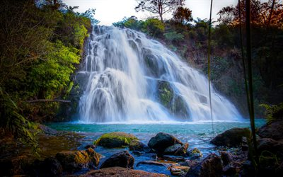 waterfall, lake, rocks, evening, beautiful waterfall, mountain waterfall
