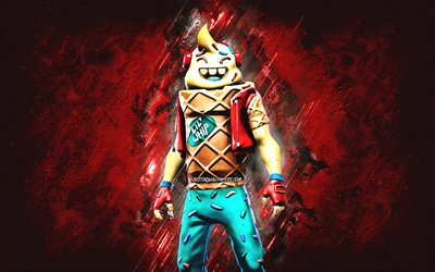 Fortnite Lil Whip Skin, Fortnite, main characters, red stone background, Lil Whip, Fortnite skins, Lil Whip Skin, Lil Whip Fortnite, Fortnite characters