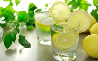 lemonad, citroner, ett glas lemonad, myntablad