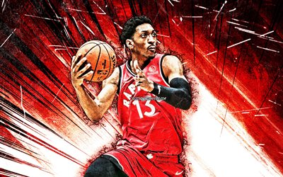 4k, Malcolm Miller, grunge art, Toronto Raptors, NBA, basketball, Usa, Malcolm Miller Toronto Raptors, red abstract rays, Malcolm Miller 4K