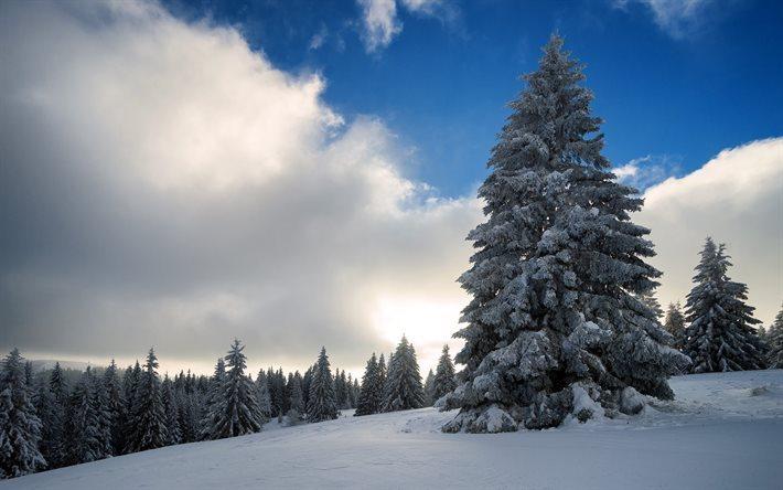 Scarica sfondi inverno neve montagne cielo nuvole for Paesaggi invernali per desktop