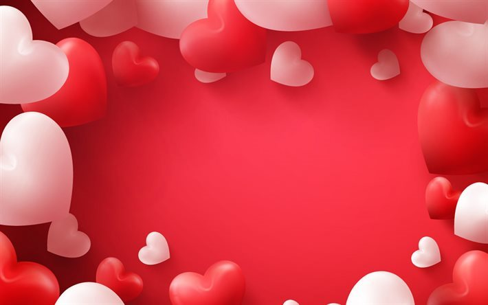 Download Wallpapers Valentine S Day Red 3d Heart 3d Pink