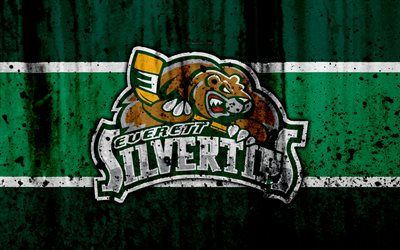 Everett Silvertips, 4k, grunge, WHL, hockey, art, Canada, logo, stone texture, Western Hockey League