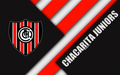 Chacarita Juniors, material design, red black abstraction, Argentinian football club, 4k, Villa Maipú, Argentina, football, Argentine Superleague, First Division