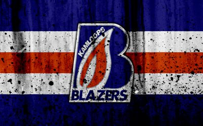 Kamloops Blazers, 4k, grunge, WHL, hockey, art, Canada, logo, stone texture, Western Hockey League