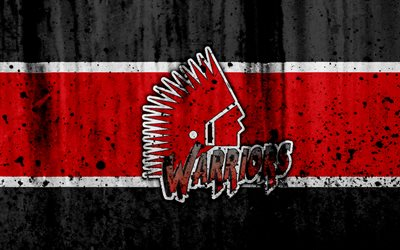 Moose Jaw Warriors, 4k, grunge, WHL, hockey, art, Canada, logo, stone texture, Western Hockey League