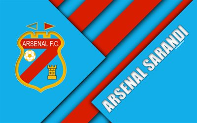 Arsenal Sarandi, Argentinian football club, 4k, material design, blue red abstraction, Sarandi, Argentina, football, Argentine Superleague, First Division