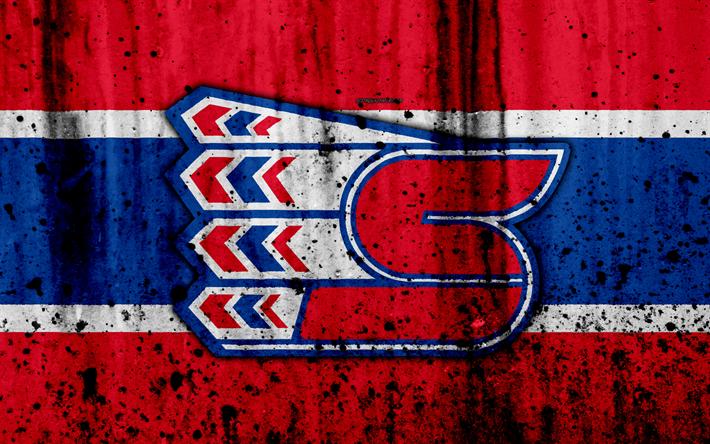 Spokane Chiefs, 4k, grunge, WHL, hockey, Canada, logo, stone