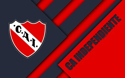 CA Independiente, Avellaneda, Argentine football club, 4k, material design, red white abstraction, Argentina, football, Argentine Superleague, First Division