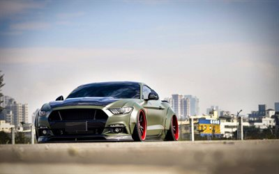 Download Wallpapers Liberty Walk Tuning Ford Mustang Gt