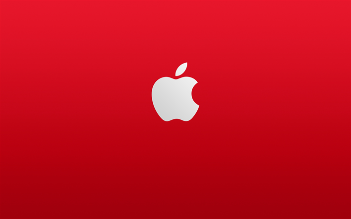Apple logo, red background, minimalism, stylish apple art