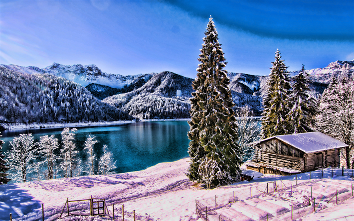 Italian nature, winter, hut, snowdrifts, lake, forest, Italy, Europe, HDR