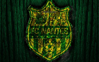 FC Nantes, scorched logo, Ligue 1, green wooden background, french football club, Nantes FC, grunge, football, soccer, Nantes logo, fire texture, France