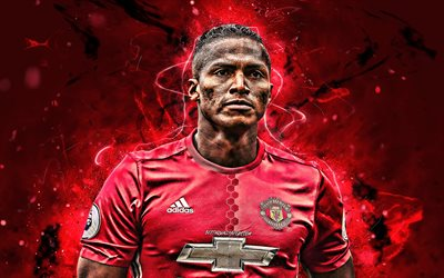 Antonio Valencia, close-up, Manchester United FC, Sucre calciatori, luci al neon, Premier League, Inghilterra, Luis Antonio Valencia, Mosquera, calcio, Man United
