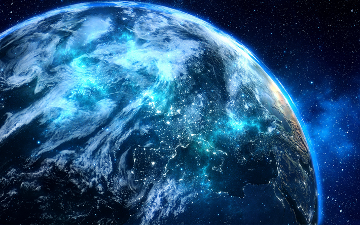 Download wallpapers Earth, Europe, view from space, night