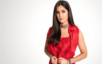 Katrina Kaif, indian actress, photoshoot, red dress, portrait, indian fashion model