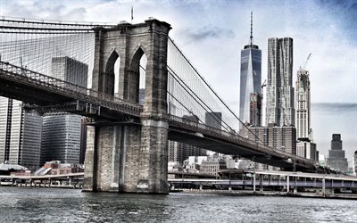 brooklyn bridge, world trade center 1, new york, east river, manhattan, brooklyn, usa, wolkenkratzer, stadtbild