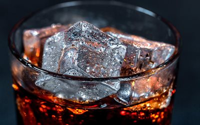 Coca Cola with ice, ice cubes, drops of water on ice, Coca Cola