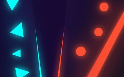 neon abstract background, neon geometric signs, blue neon triangles, neon light