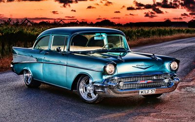 Chevrolet Bel Air, HDR, 1956 cars, retro cars, american cars, 1956 Chevrolet Bel Air, Chevrolet