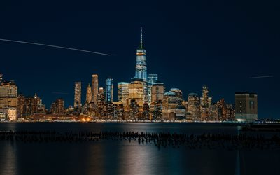 1 world trade center, freedom tower in manhattan, new york city, nacht, moderne gebäude, hochhäuser, new york, stadtbild, usa