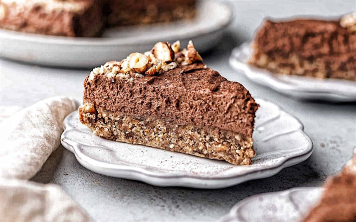 chocolate cake with hazelnut, sweets, desserts, cake, hazelnut, chocolate cakes