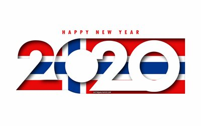 Norway 2020, Flag of Norway, white background, Happy New Year Norway, 3d art, 2020 concepts, Norway flag, 2020 New Year, 2020 Norway flag