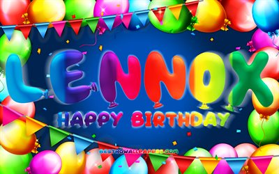 Happy Birthday Lennox, 4k, colorful balloon frame, Lennox name, blue background, Lennox Happy Birthday, Lennox Birthday, popular german male names, Birthday concept, Lennox