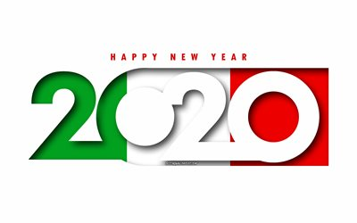 Italy 2020, Flag of Italy, white background, Happy New Year Italy, 3d art, 2020 concepts, Italy flag, 2020 New Year, 2020 Italy flag