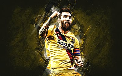 Lionel Messi, FC Barcelona, portrait, yellow uniform of FC Barcelona, soccer world star, La Liga, Spain, football, Leo Messi