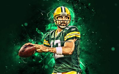 Aaron Rodgers, 4k, quarterback, Green Bay Packers, american football, NFL, Aaron Charles Rodgers, National Football League, neon lights, Aaron Rodgers 4K