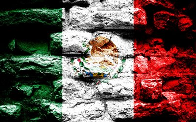 Mexico flag, grunge brick texture, Flag of Mexico, flag on brick wall, Mexico, Europe, flags of South American countries